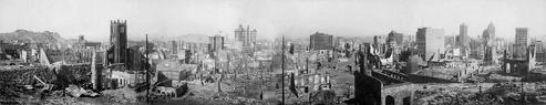 Panoramabild des Erdbebens von 1906 in San Francisco